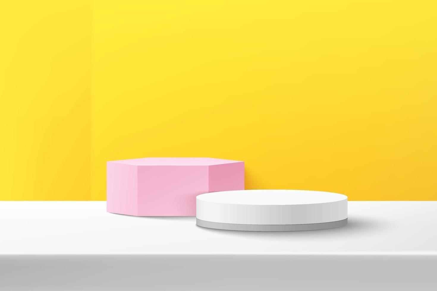 Abstract vector rendering 3d shape for advertising product display with copy space. Modern white and pink geometric podium with white and yellow empty room background. Minimal studio room concept.