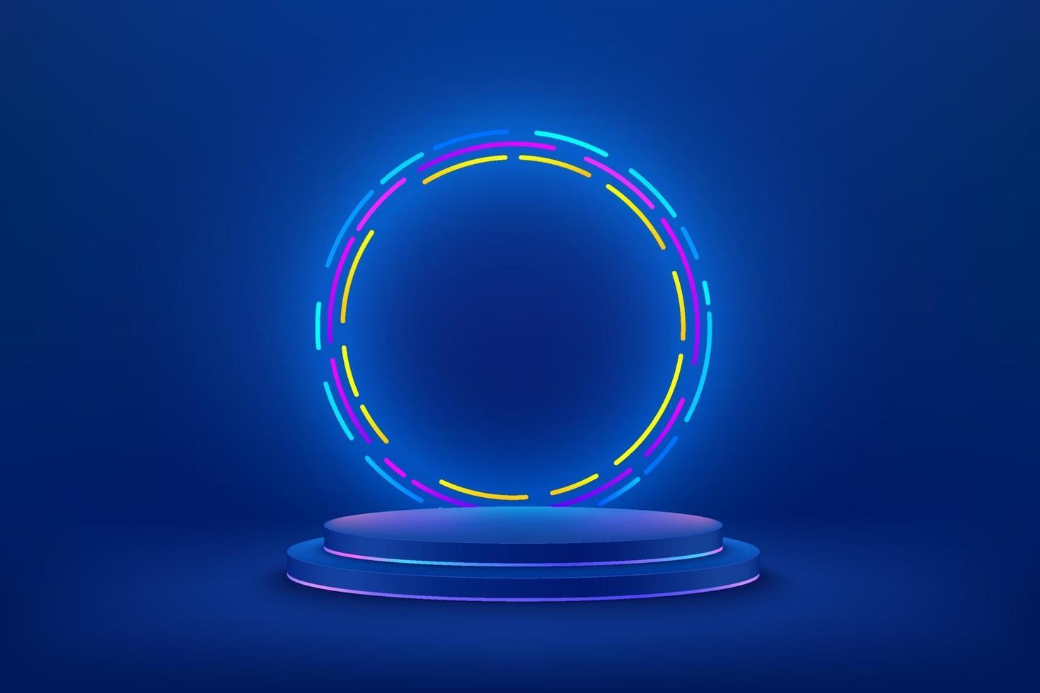 Abstract vector rendering 3d shape for cosmetic products display presentation. Modern technology blue cylinder podium with dark empty room and shiny ring neon background. Minimal scene studio room .