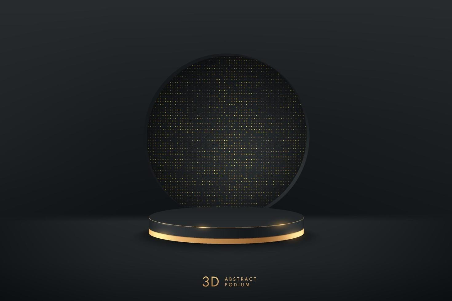 Abstract vector rendering 3d shape for advertising products display presentation. Luxury black and gold cylinder podium with dark empty room and golden glitter texture background. Minimal scene room.