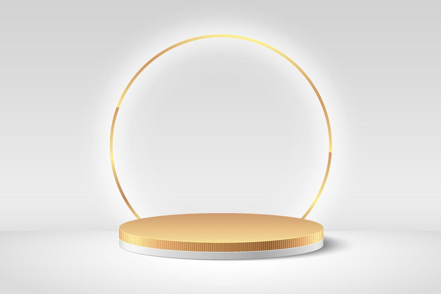 Abstract vector rendering 3d shape, Cosmetic product display presentation. Luxury white and gold cylinder pedestal podium, Shiny golden ring and empty room background. Minimall wall scene.