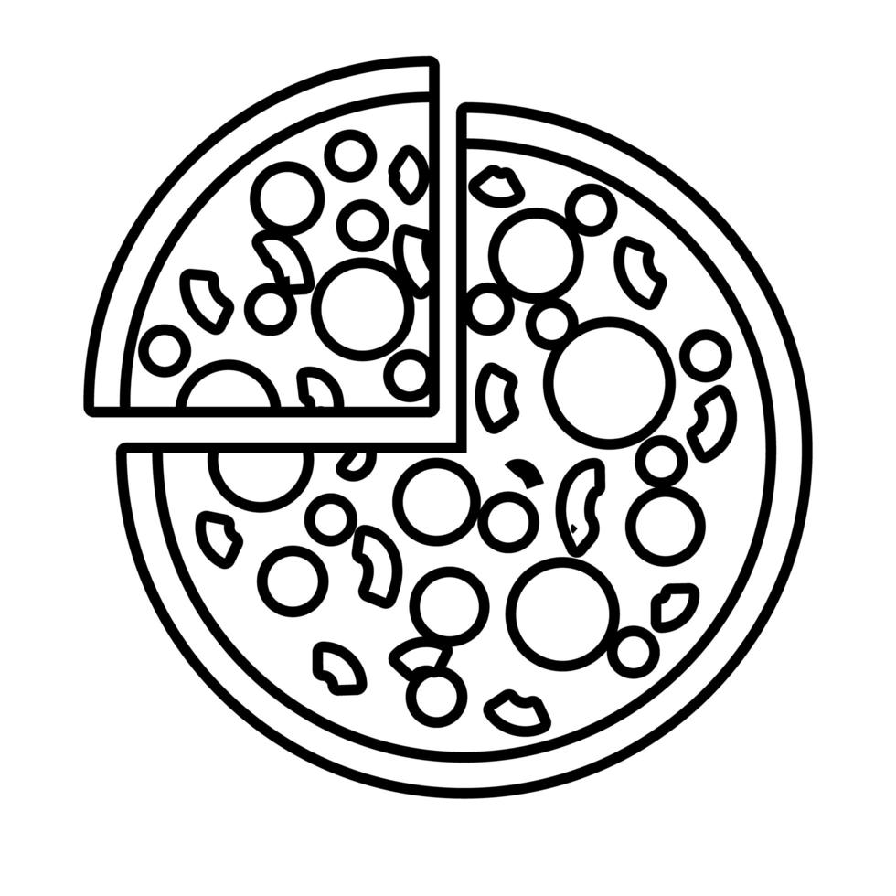 pizza italian fast food line style icon vector