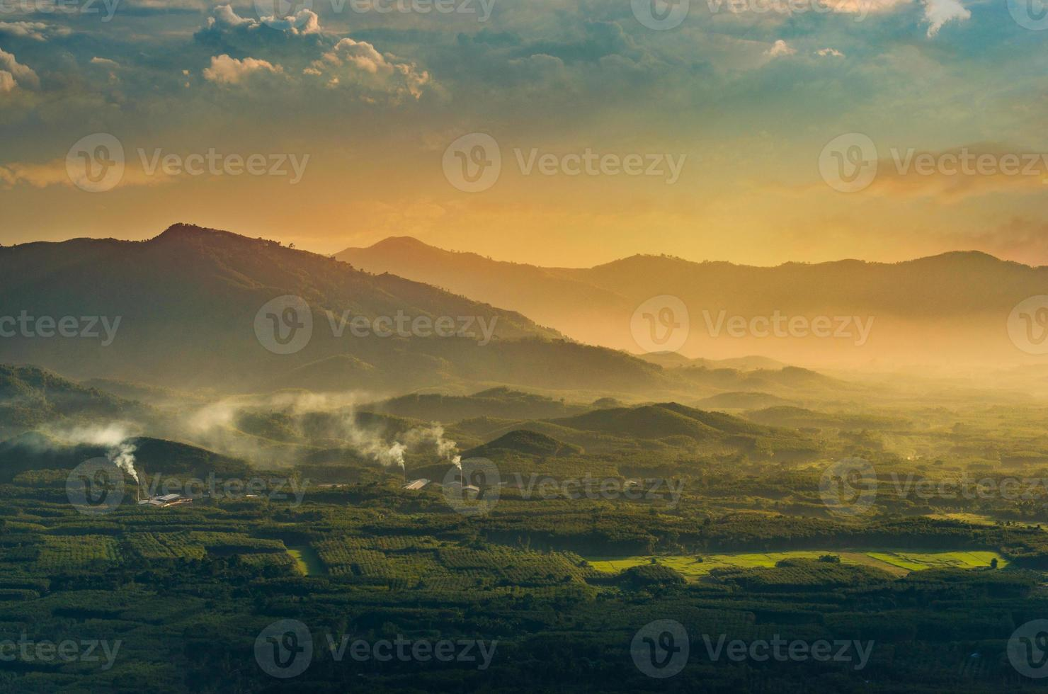 Mountain photo Morning sun Thailand View on the top of the hill with beautiful sunsets. Nakhon Si Thammarat Chawang District