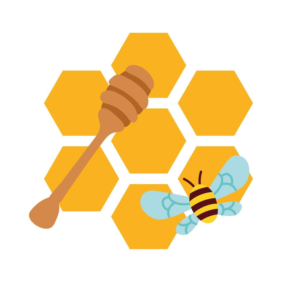 forms of honey sweet with bee flying vector