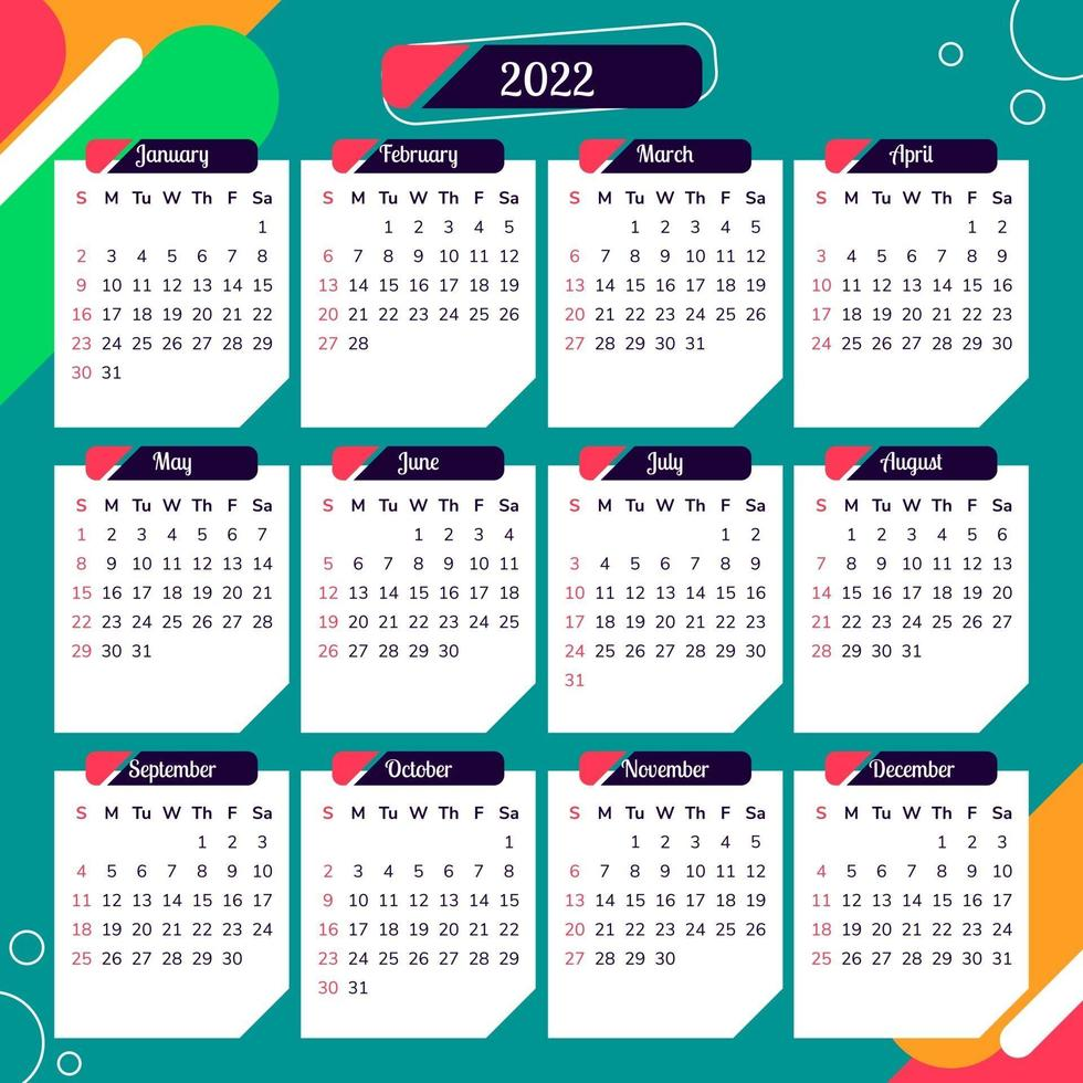 Calendar 2022 With Colorful Abstract Background 2606728 Vector Art At Vecteezy