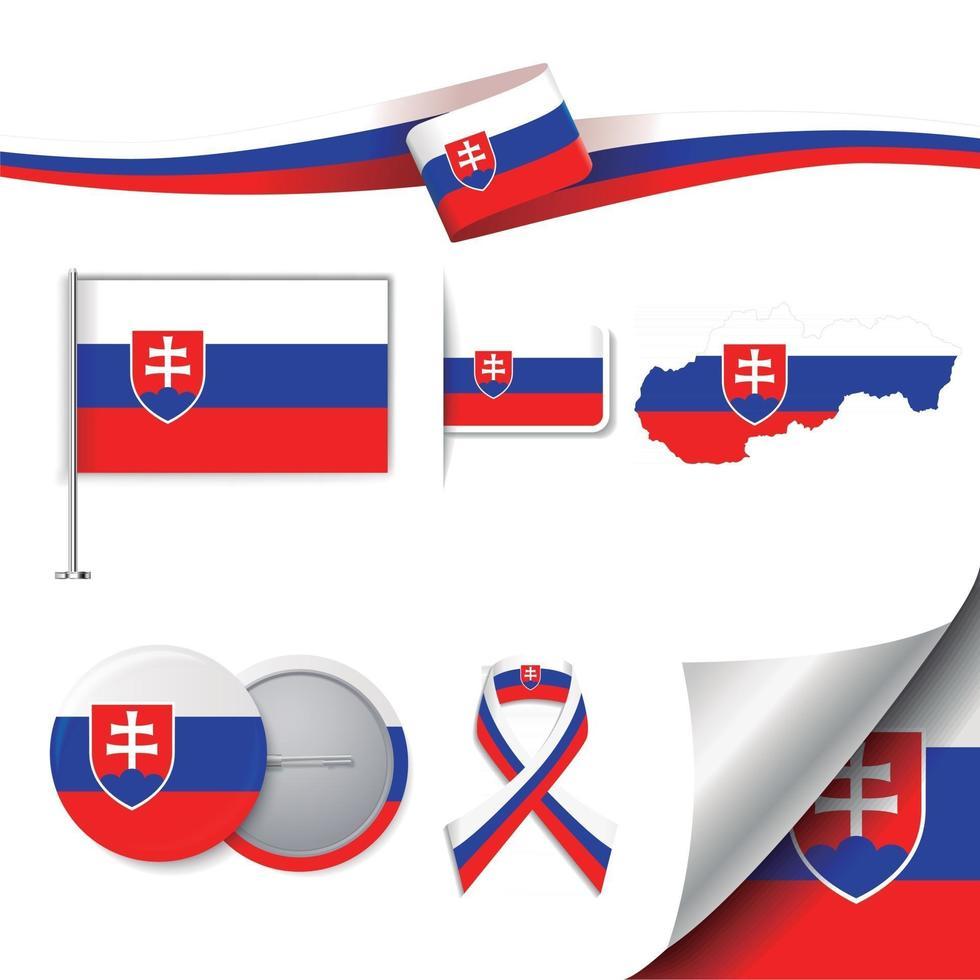 bandera de eslovaquia con elementos vector