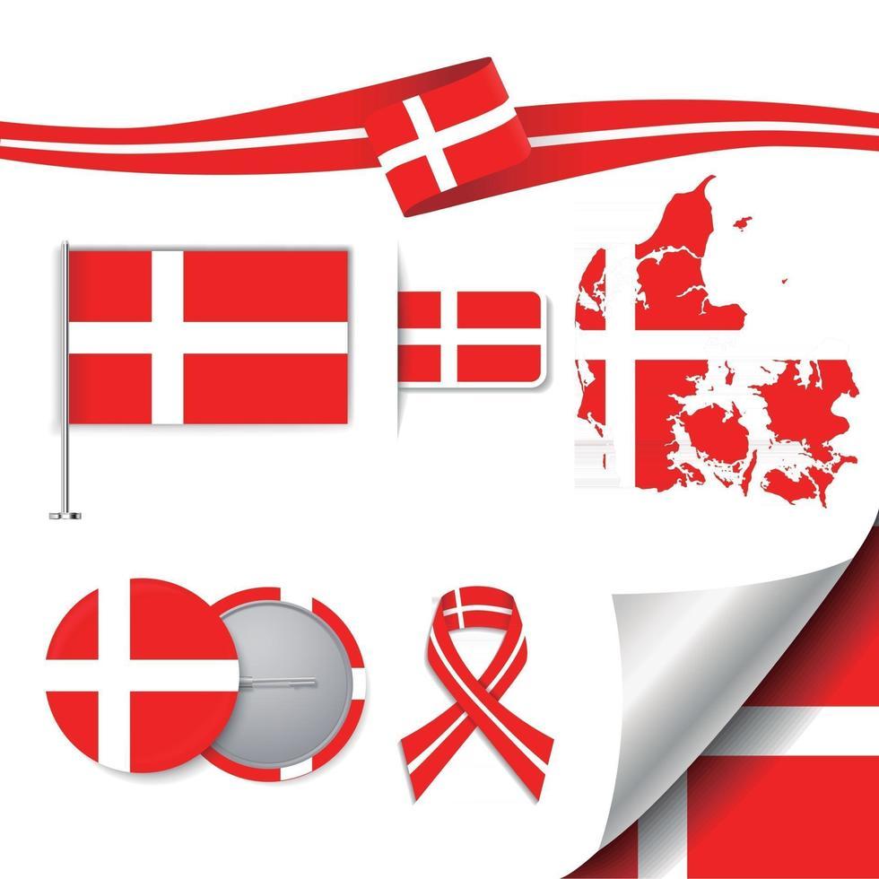 bandera de dinamarca con elementos vector