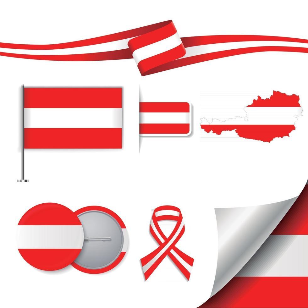 bandera de austria con elementos vector