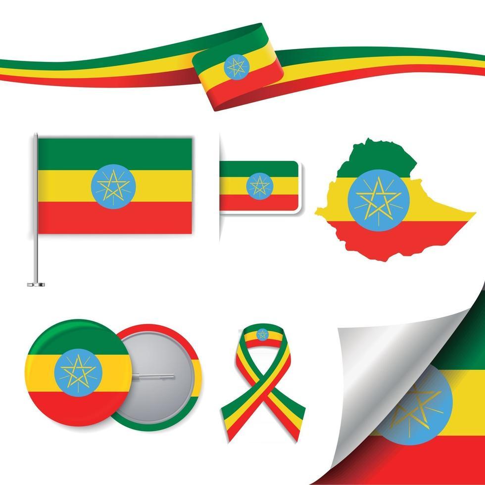 bandera de etiopía con elementos vector