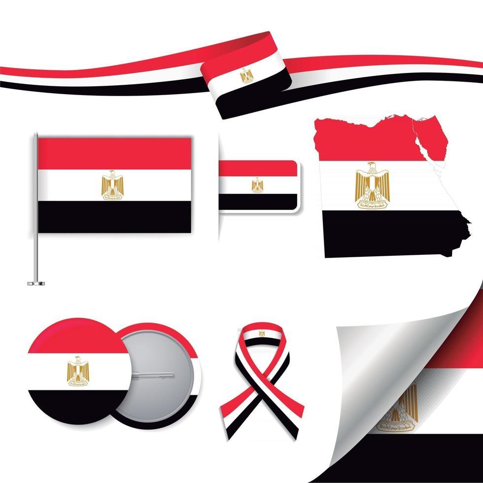 bandera de egipto con elementos vector