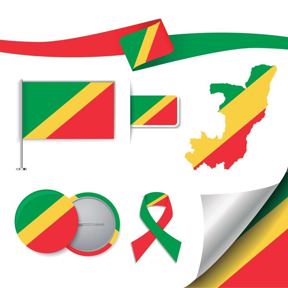 bandera de congo con elementos vector