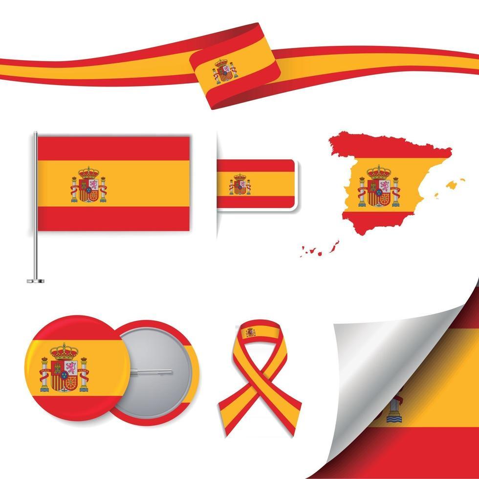 bandera de españa con elementos vector
