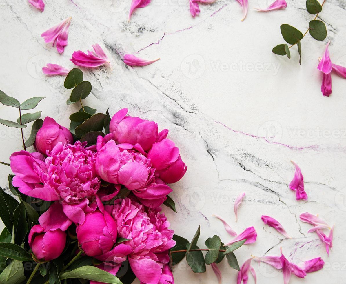 peonías rosas sobre un fondo de mármol foto