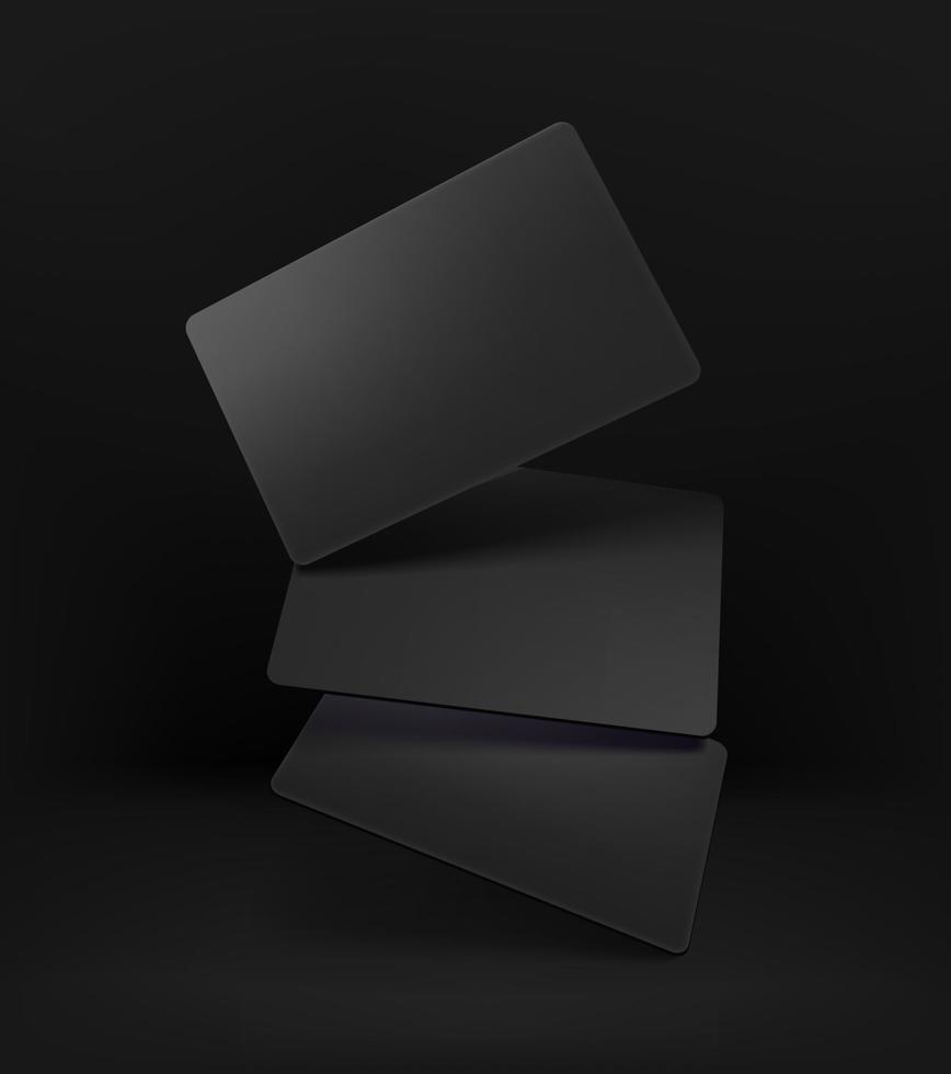 tarjetas negras realistas sobre fondo negro vector