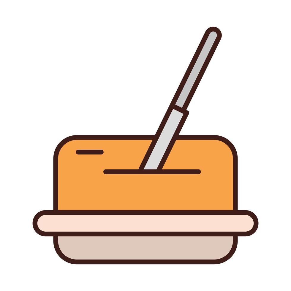 breakfast butter with knife on dish line and fill style vector