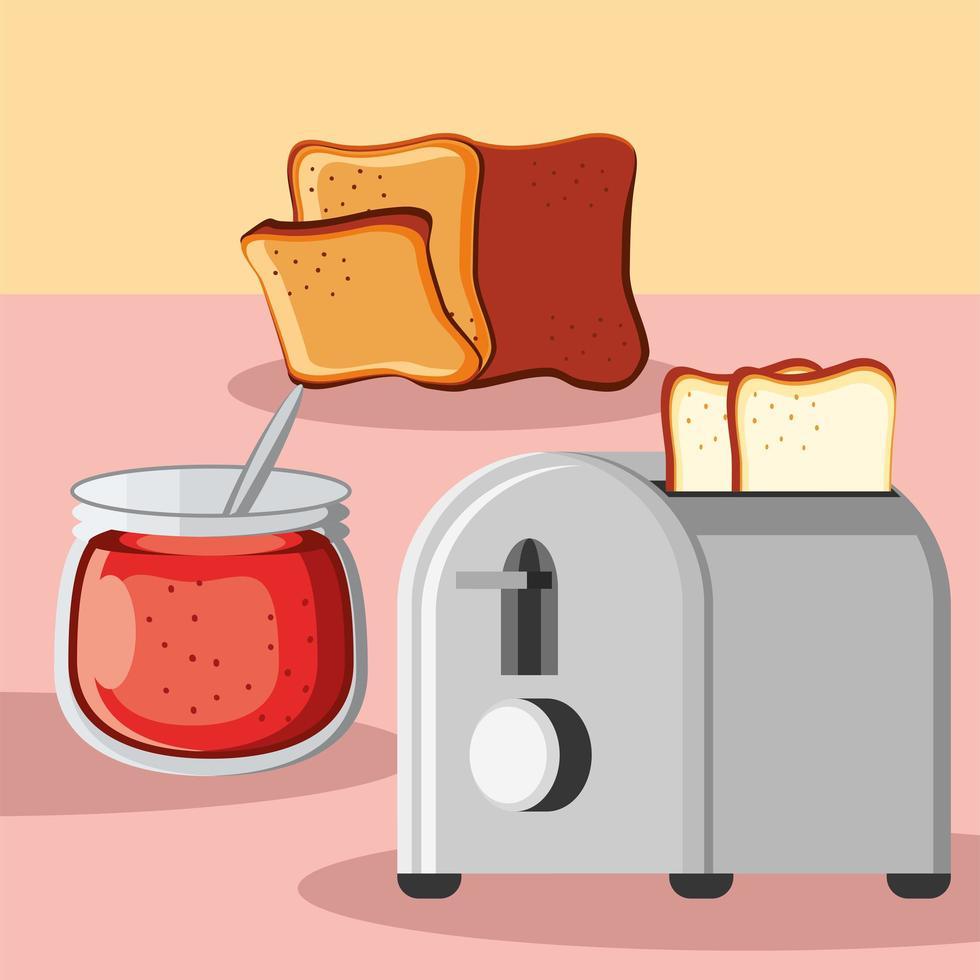 breakfast bread and jam vector