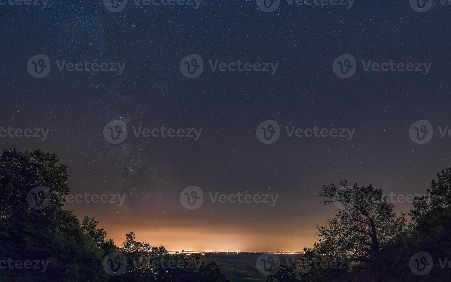 Milky Way galaxy over the huge town. Milky Way galaxy over the Belgrade, view from mountain Avala, Serbia, Europe. The night sky is astronomically accurate. photo