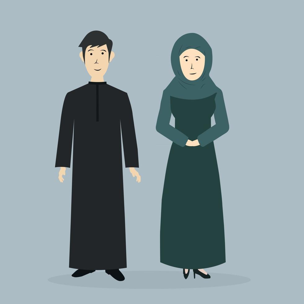Stylish Couple Of Muslim people icon man and woman wear hijab veil cap, Arabic asian people islam moslems icon illustration vector