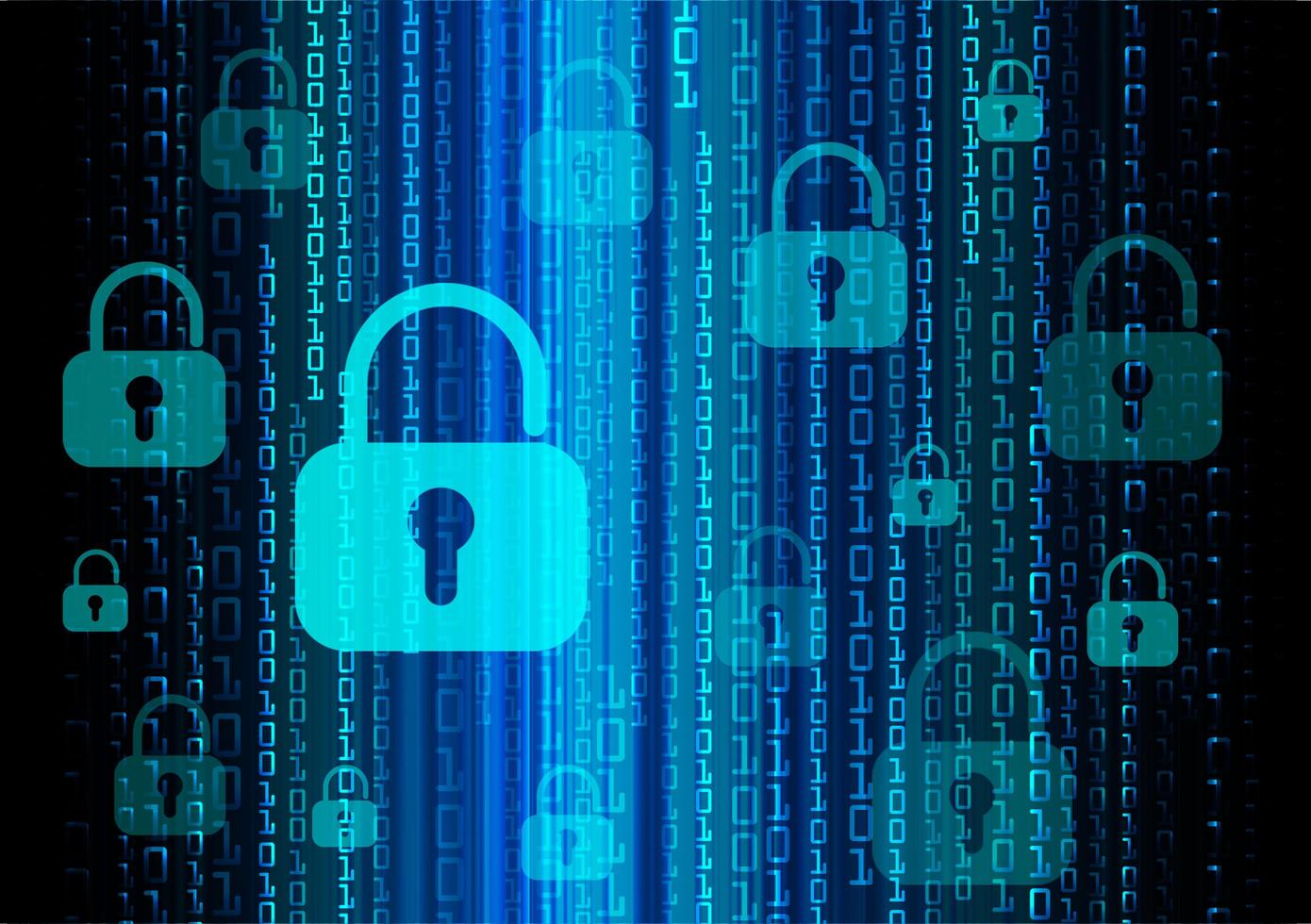 Closed Padlock on digital background, cyber security photo