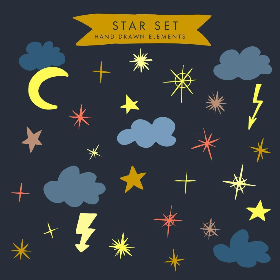 Vector colorful modern set with hand draw llustrations of night sky, stars, clouds. Can be used as elemets for your design for greeting cards, nursery, poster, card, birthday party, packaging paper design, baby t-shirts prints
