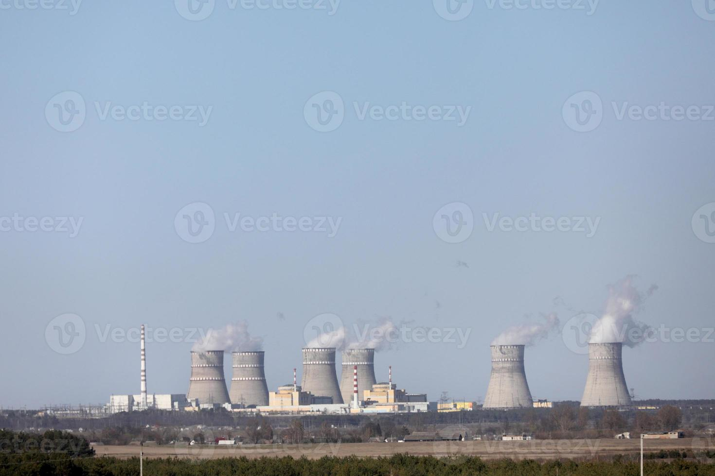 panorama of a nuclear power plant. environmental pollution. photo