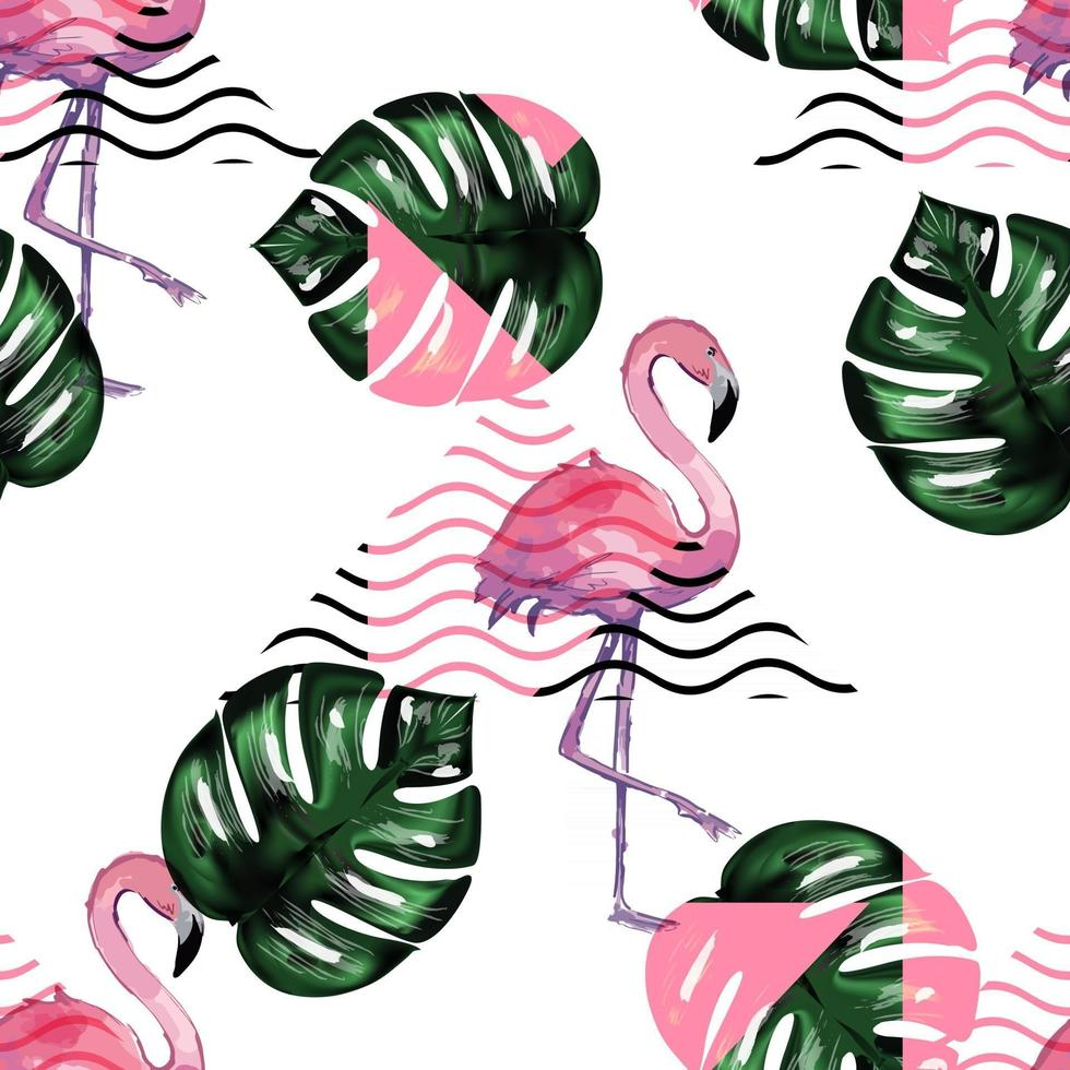 Exotic seamless pattern with flamingo. vector