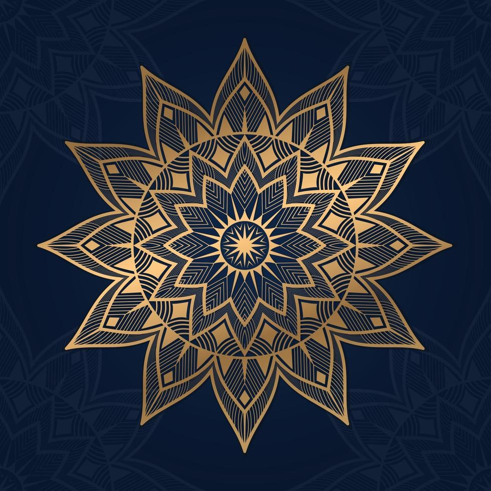 Luxury mandala background with blue color vector