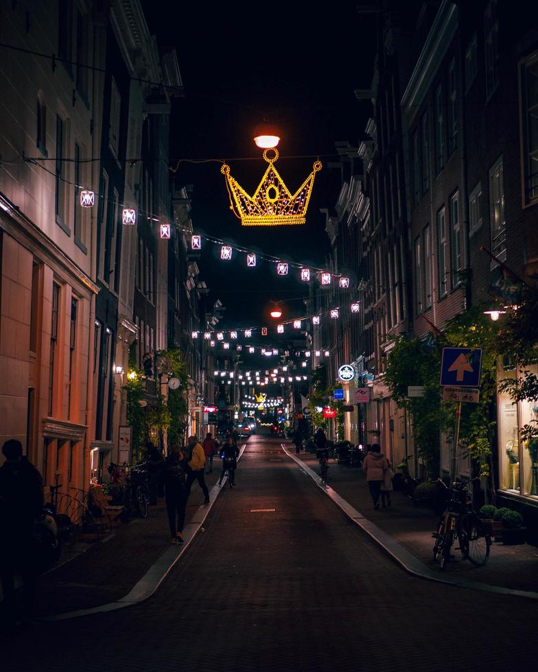 Amsterdam, Netherlands 2018- Night city lights in Amsterdam photo