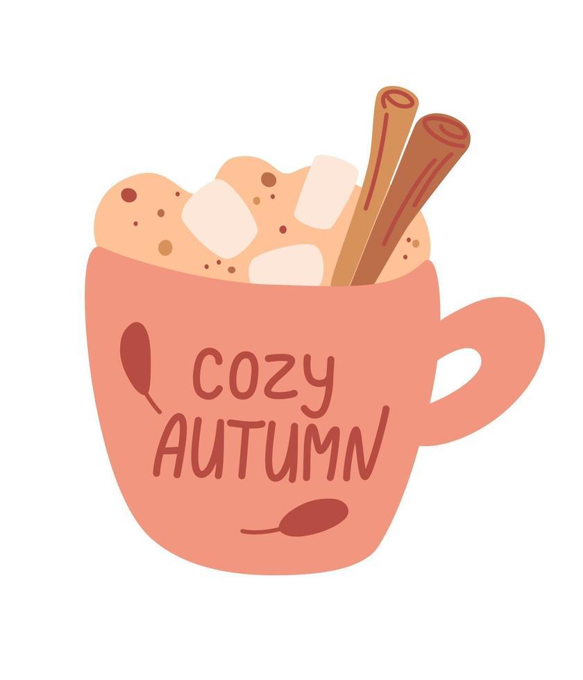 taza con bebida de otoño con malvavisco y canela. bebida caliente. vacaciones de otoño e invierno. café, cacao, capuchino y malvaviscos. beber con canela y nata montada. ilustración vectorial vector