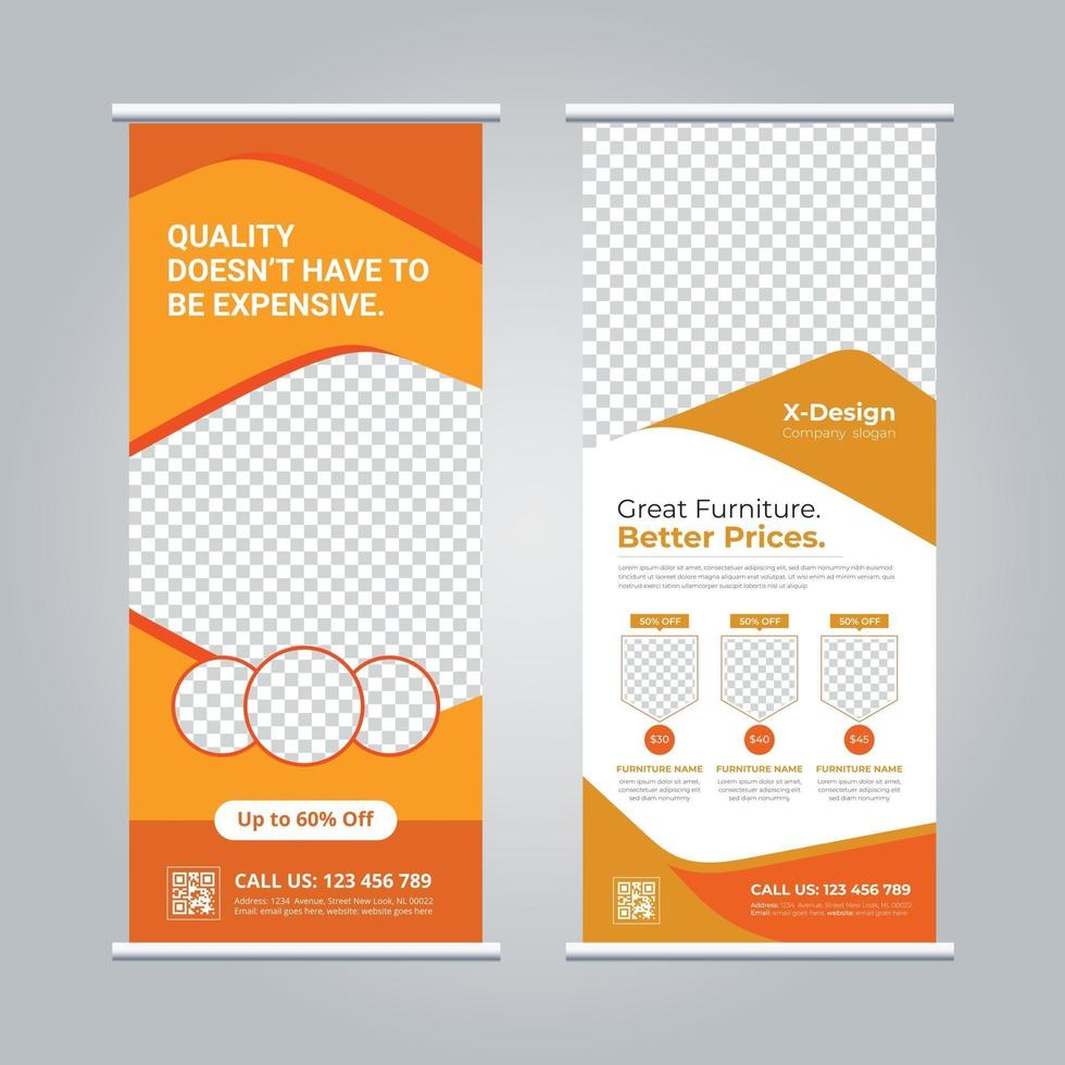 Furniture roll up banner vector