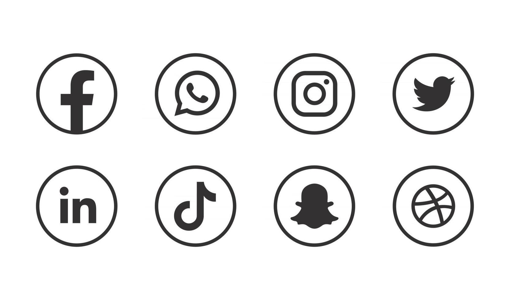 Social media Icons bundle Facebook Instagram Snapchat LinkedIn and other logo buttons vector