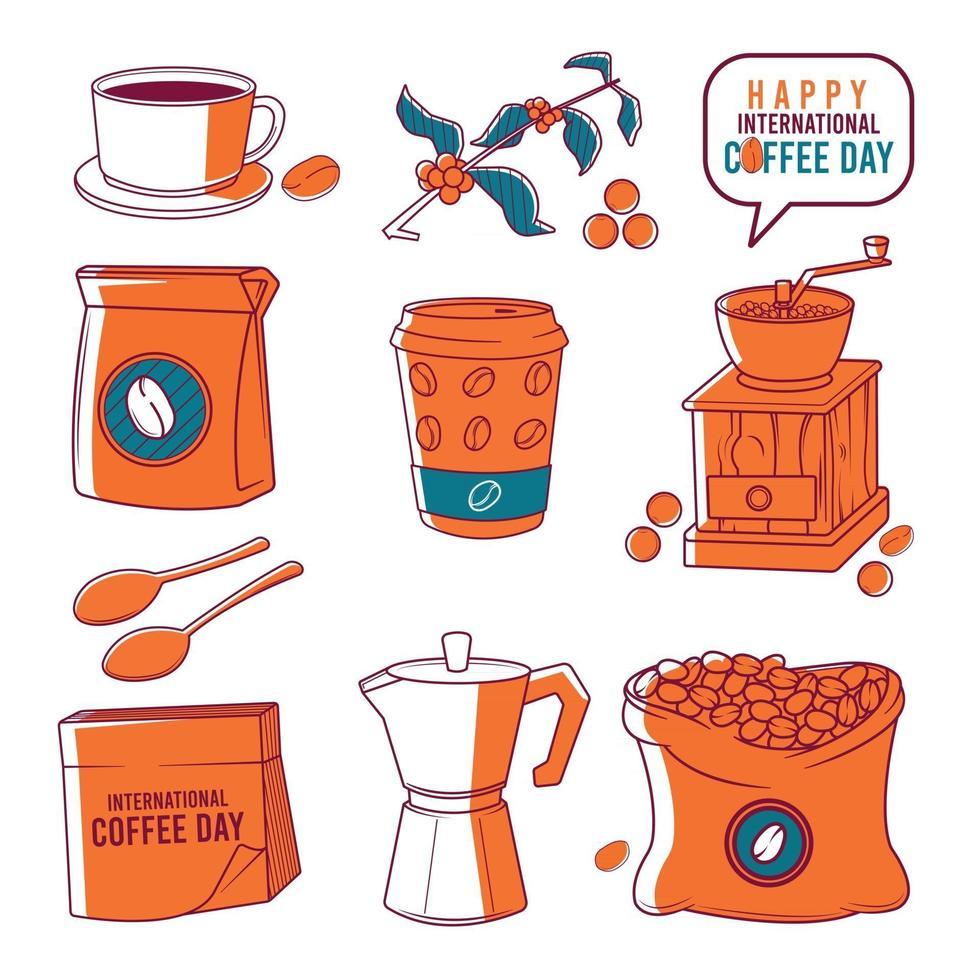 Set of international coffee day items vector