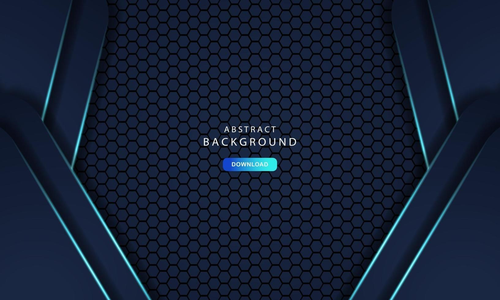 Hexagonal abstract metal background with light blue effect vector