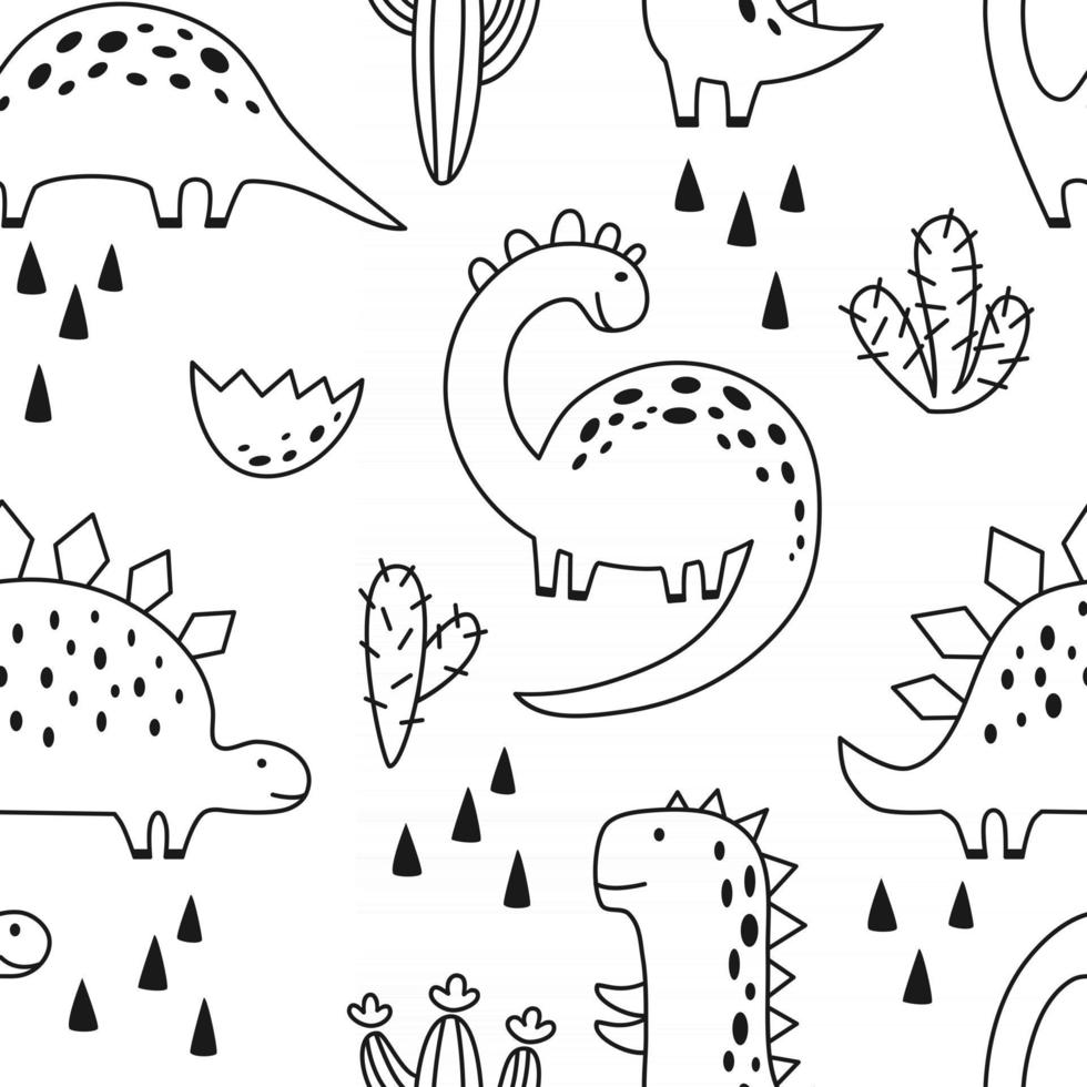 Seamless pattern with cute dinosaur in outline sketchy style. Funny cartoon dino. Hand drawn vector doodle for kids