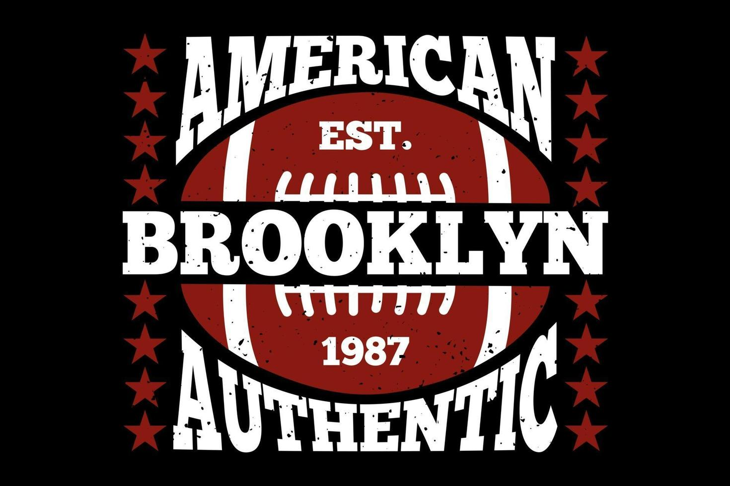 T-shirt typography american brooklyn authentic football vector