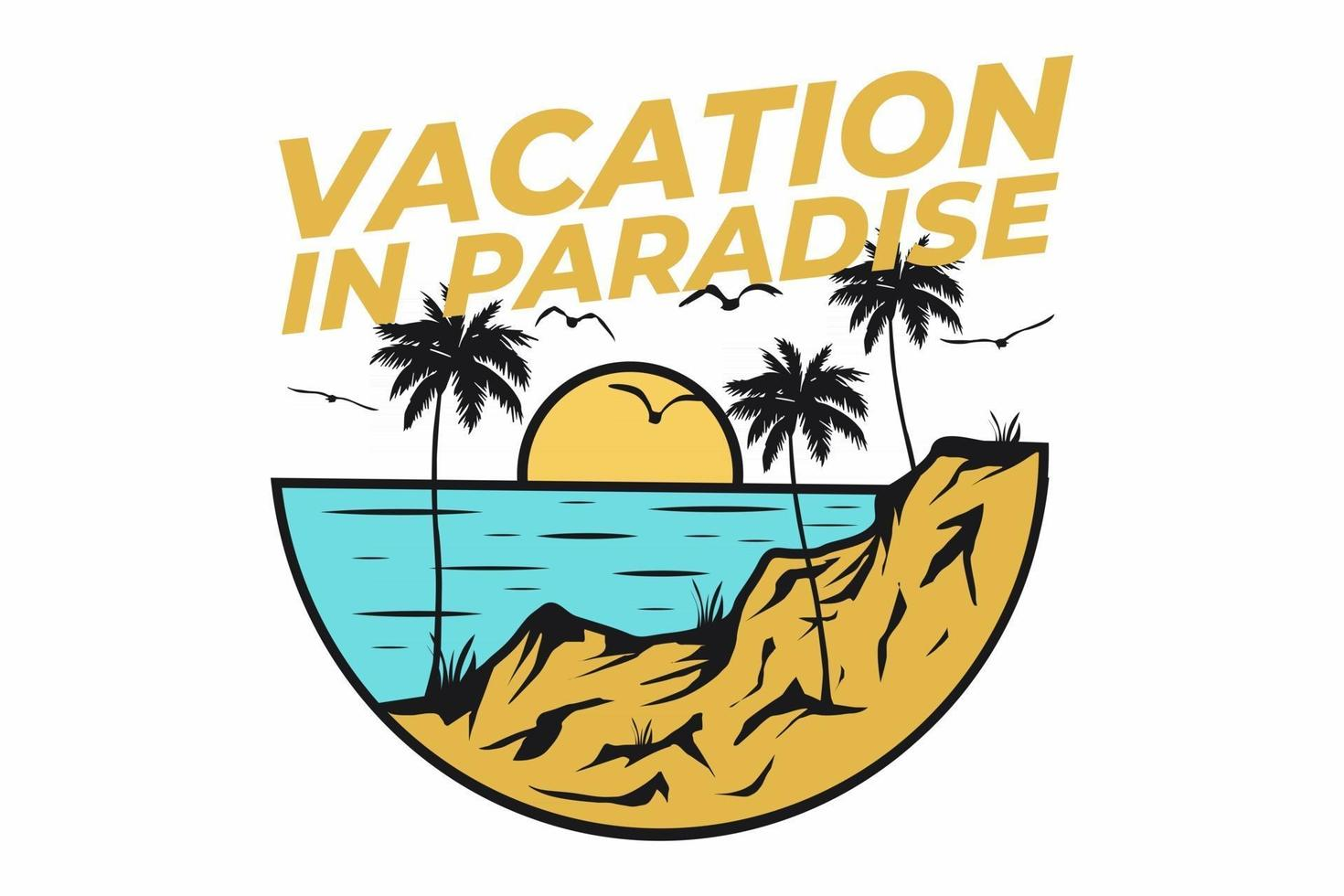 T-shirt retro beach vacation in paradise vintage style vector