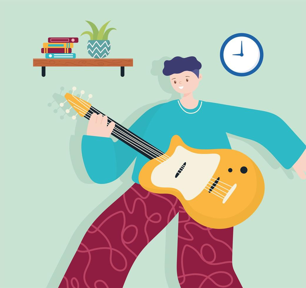 people activities, young man with guitar music instrument in room vector
