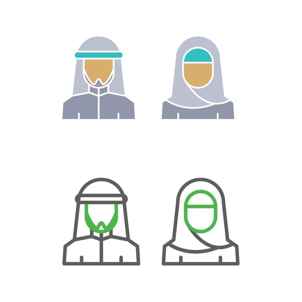 Muslim couple icon set vector