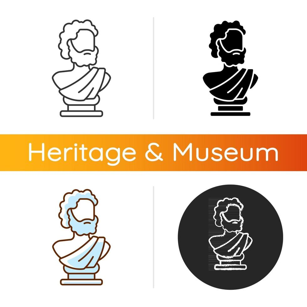 Ancient statue icon. Art history. Ancient greek sculpture. Depicting realistic human form. Sculpted bust. Classical masterpiece. Linear black and RGB color styles. Isolated vector illustrations