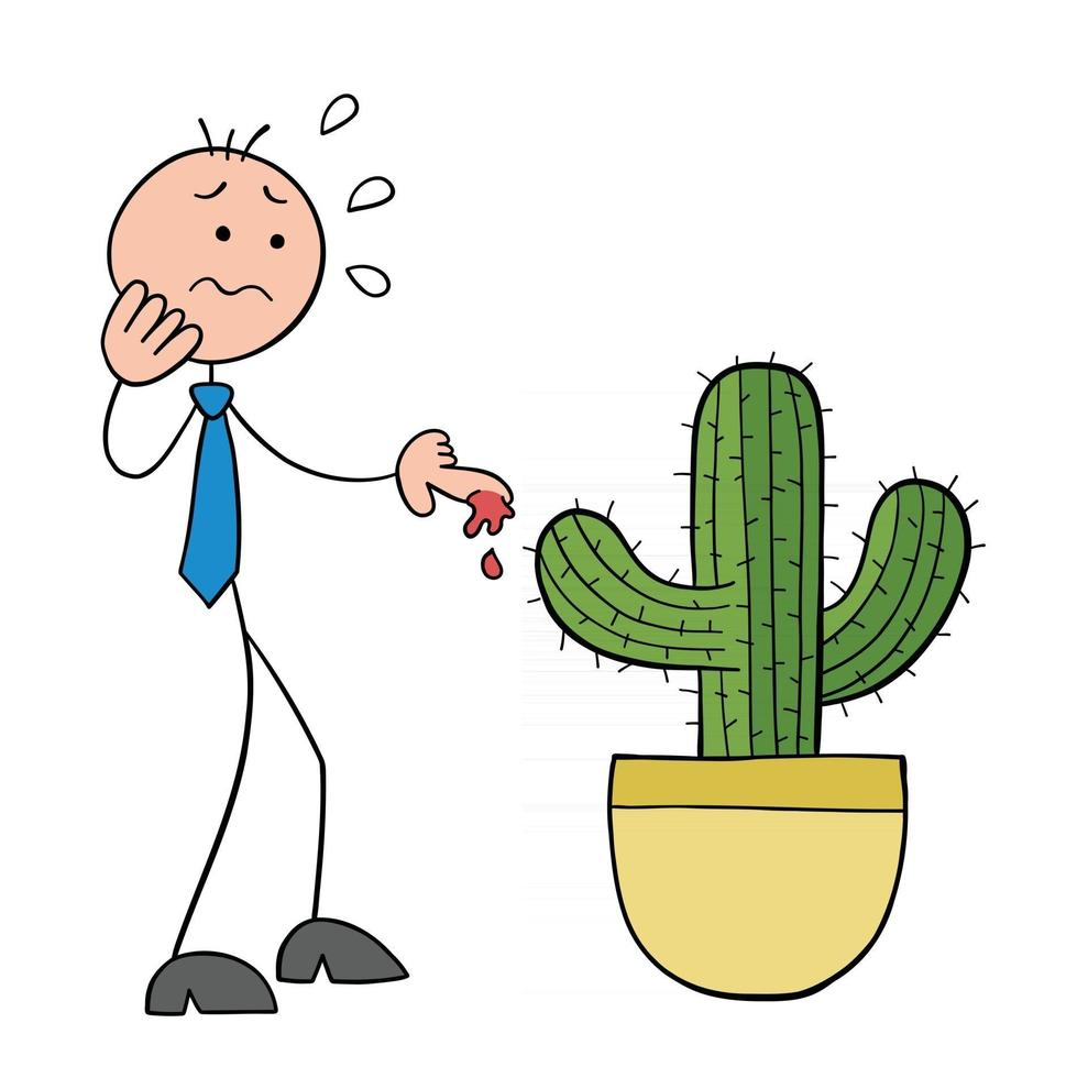Stickman Businessman Character Touches the Cactus Thorn and His Finger Bleeds Vector Cartoon Illustration