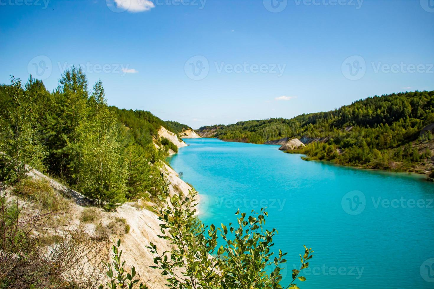 Mountain lake with bright turquoise water. Summer landscape on a sunny day. photo