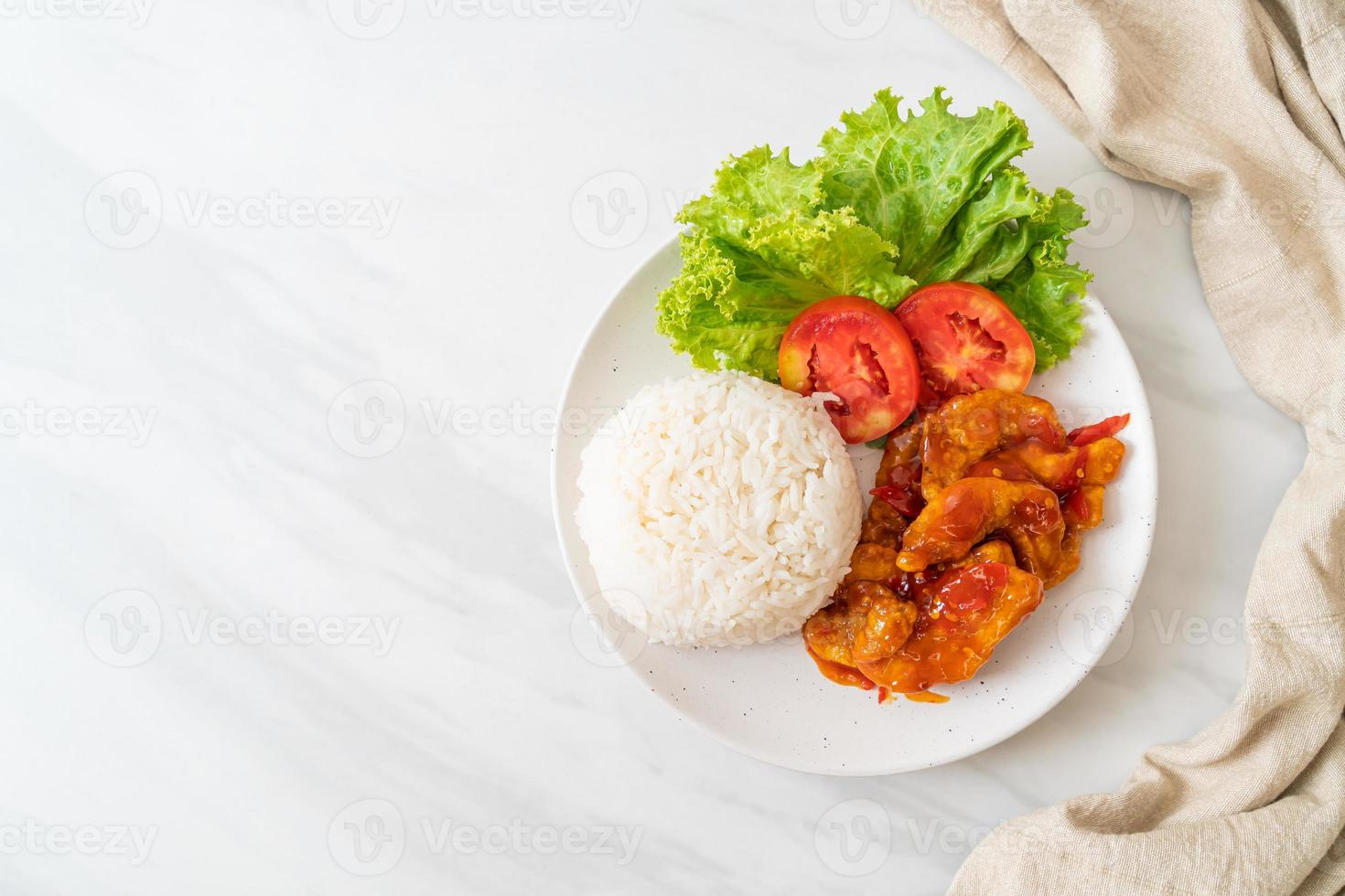 Fried fish topped by 3 flavors chili sauce with rice photo
