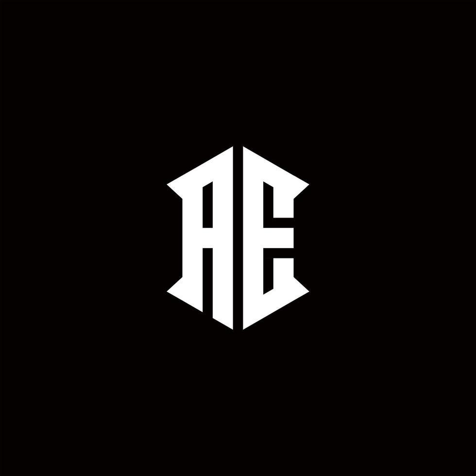 AE Logo monogram with shield shape designs template vector