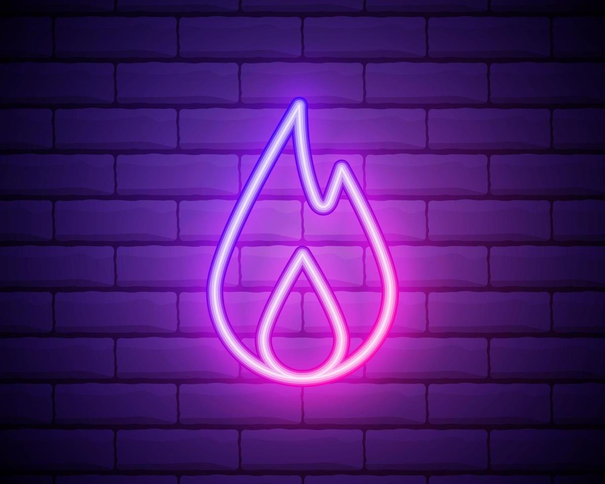Neon fire icon. Elements in neon style icons. Simple neon flame icon for websites, web design, mobile app isolated on brick wall vector