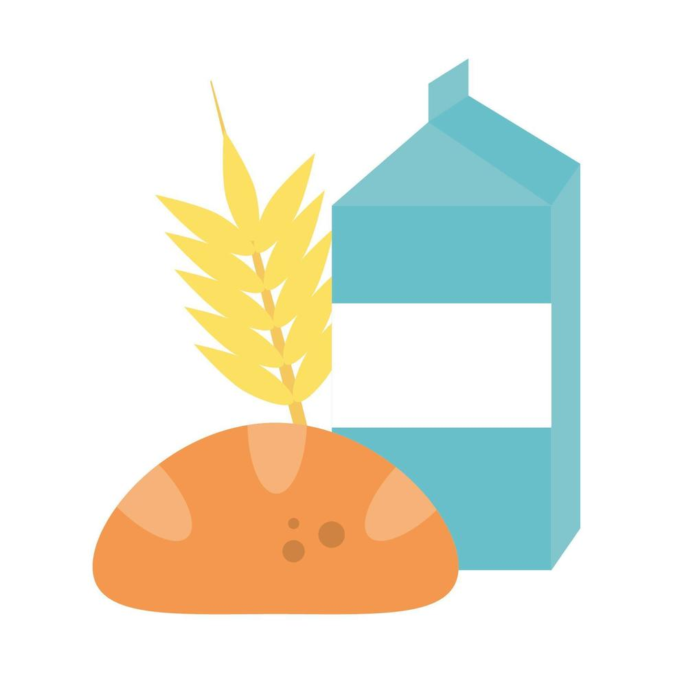 milk bread and wheat ear vector illustration