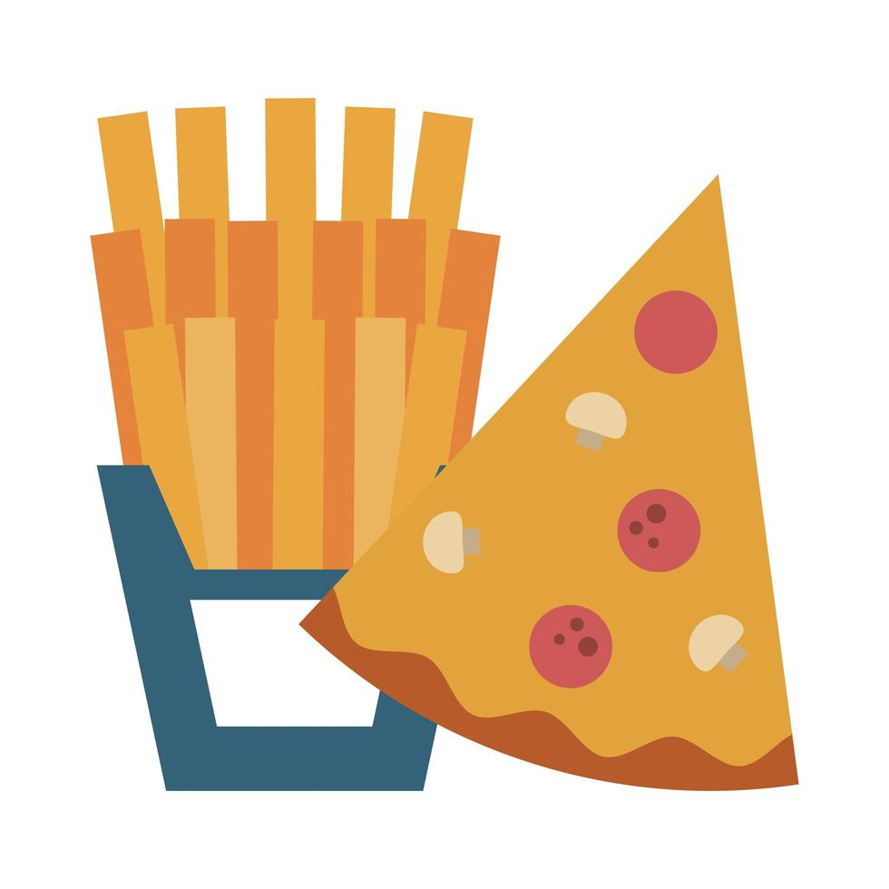 restaurant food and cuisine pizza and french fries icon cartoons vector illustration graphic design