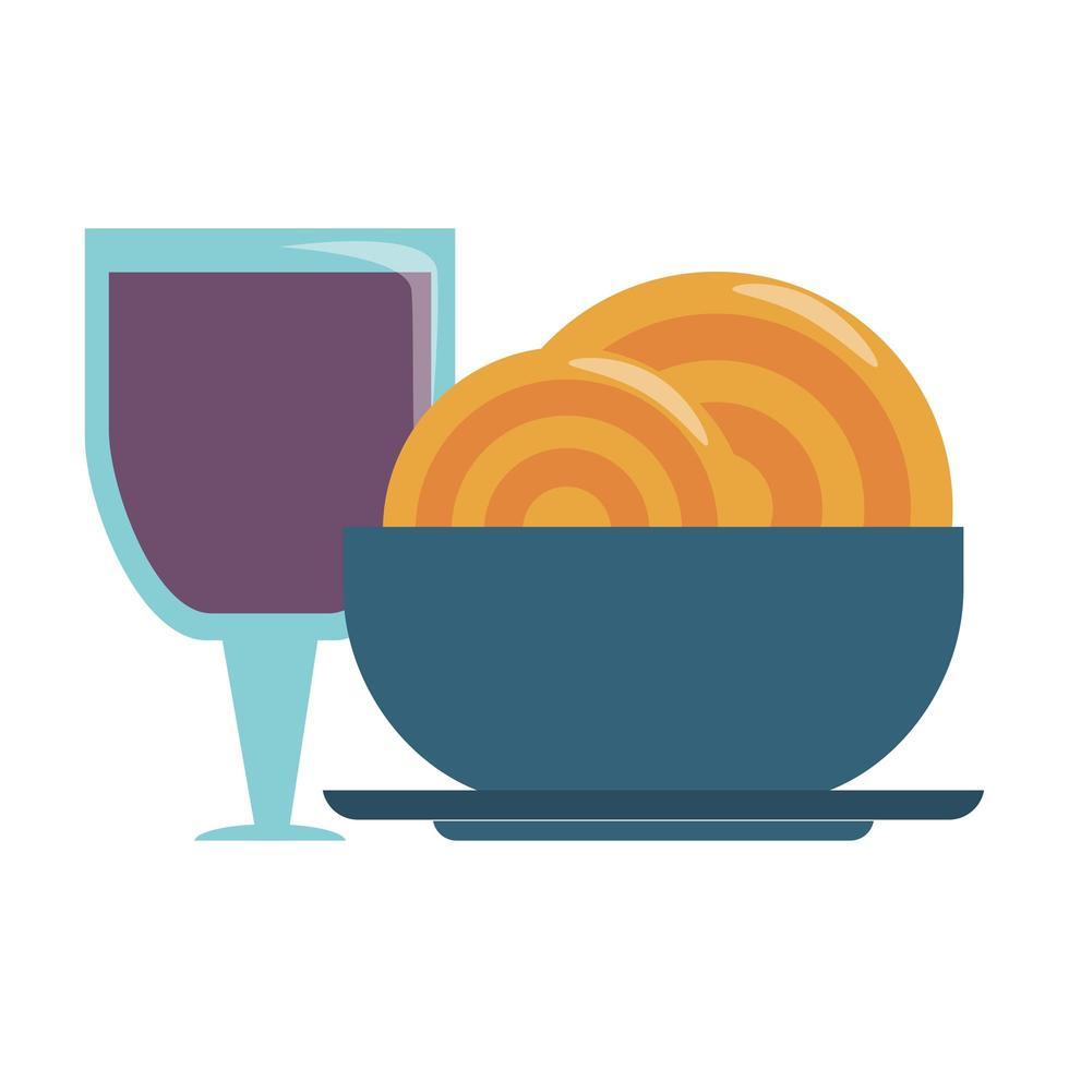 restaurant food and cuisine spaghetti on a bowl and glass with wine icon cartoons vector illustration graphic design