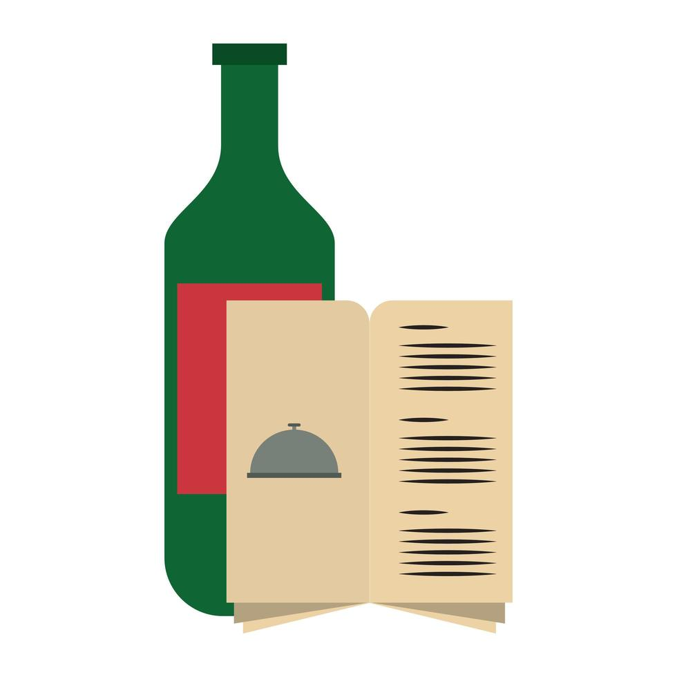 restaurant food and cuisine bottle with wine and menu icon cartoons vector illustration graphic design