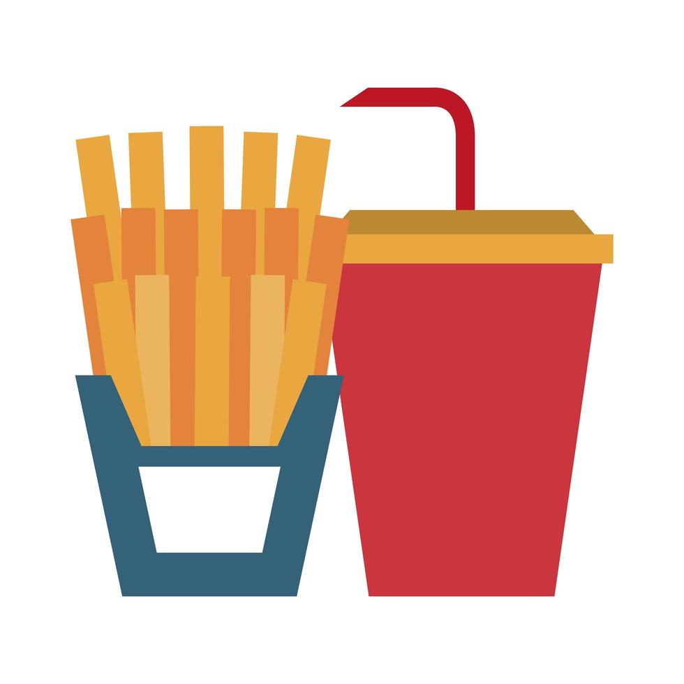 restaurant food and cuisine french fries and soda cup icon cartoons vector illustration graphic design