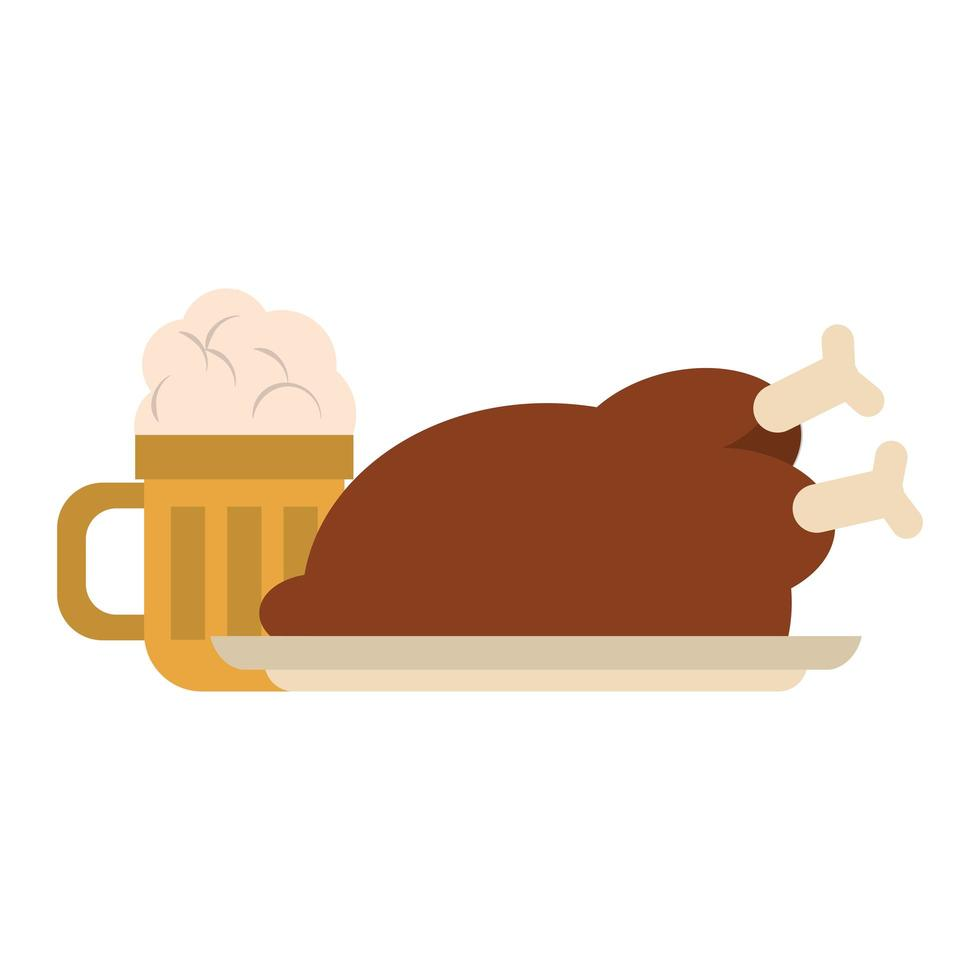 restaurant food and cuisine roaster chicken and big glass with beer icon cartoons vector illustration graphic design