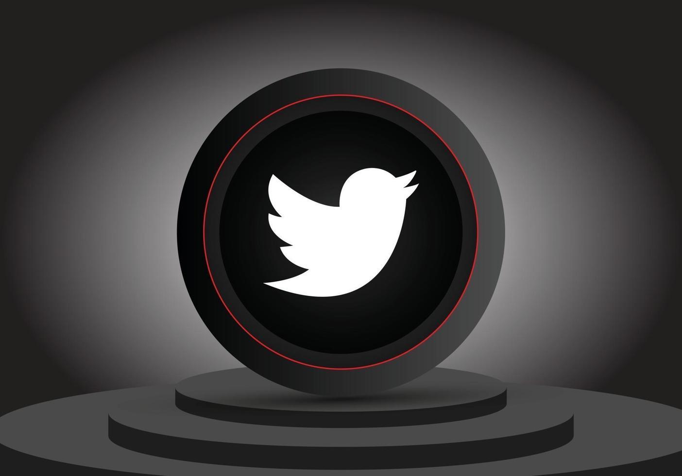 social media 3d twitter icon vector